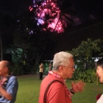 (L to R) Tommy Htay, Lin Aung Thet & May Tha Hla enjoying the bonus fireworks for the Re-union celebration.