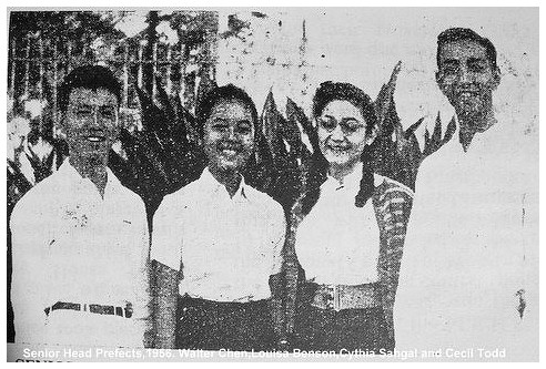 Senior Head Prefects (1956-1957): (L-R): Walter Chen, Lousia Benson, Cynthia Sahgal and Cecel Todd. Courtesy of Jon Chen Sept, 29, 2014